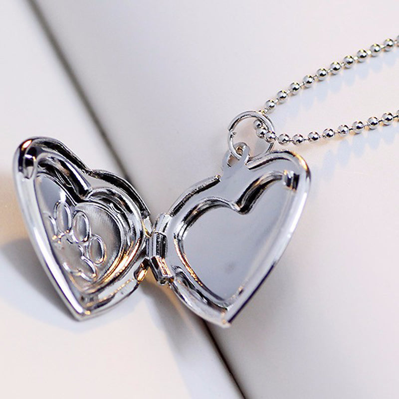 paw love dog pet pendant heart com shellhard necklace hollow for amazon dp necklaces cat women cute footprint animal