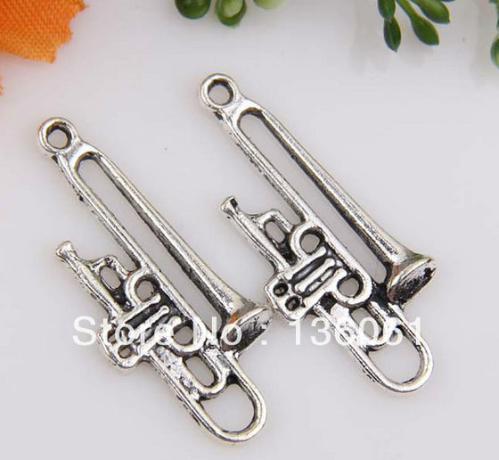 Vintage Silvers Charms Trombone Pendants For Jewelry