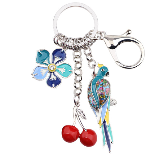Parrot Cherry Flower Key Chains