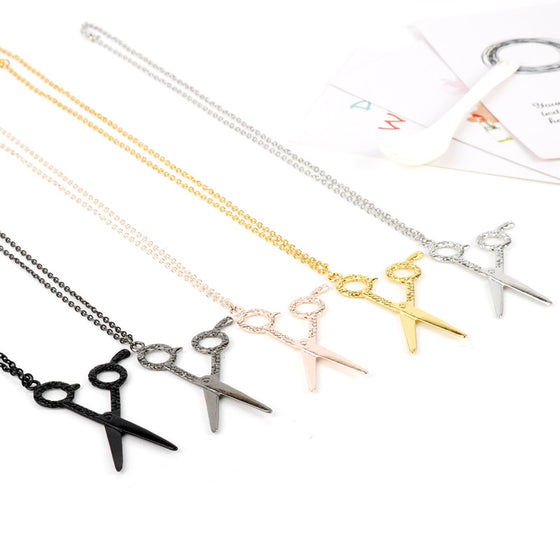 Hairdresser Tools Scissors Pendant Necklace H1