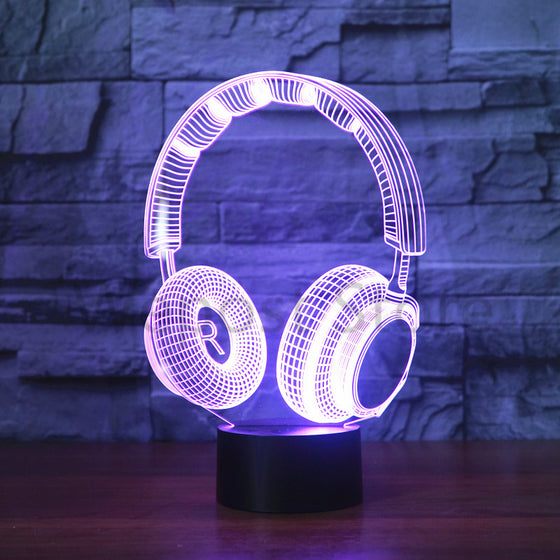 3D DJ Led Lamp Earphone Music Headset Changeable Colors
