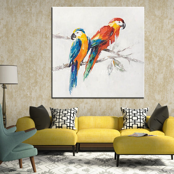Parrot Hand-painted Abstract Oil Painting  Canvas