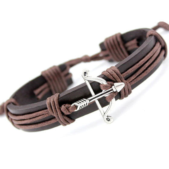 Archery Bow Arrow Charm Leather Bracelet H2