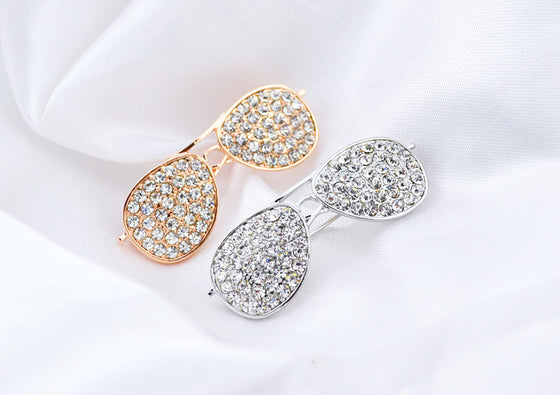Optometrist Full Rhinestone Sunglasses Brooches