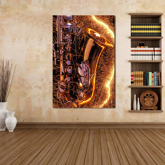 Saxophone With Sparks Canvas Home Decor