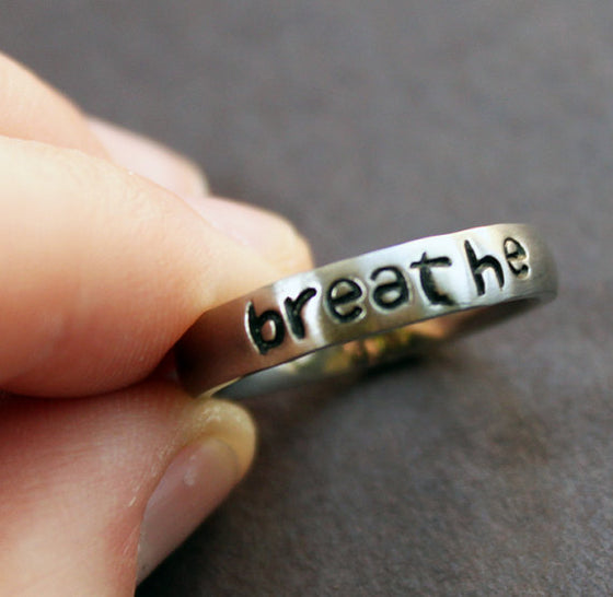 Respiratory Therapist Engraved Breathe Ring Jewelry T1 (5-9 Sizes)
