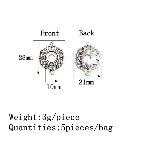 5 Pieces Silver Fluted Flower Two Holes Charm