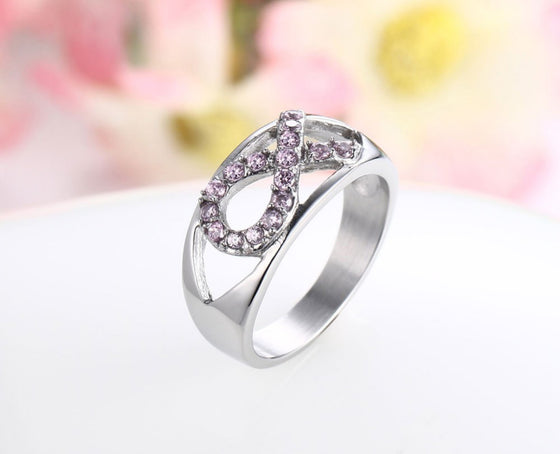 Breast Cancer Stainless Steel  Pink Crystal Ribbon Ring T1 (Size 6-7-8)