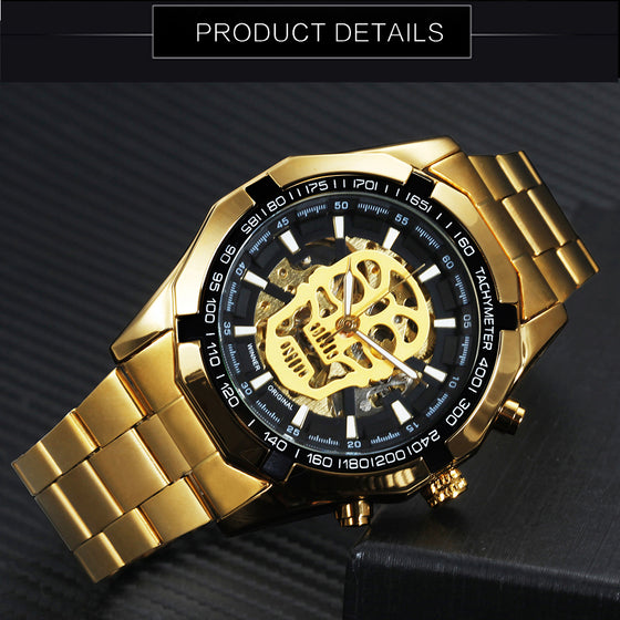 Radiologist/ Rad Tech- Brand Luxury Golden Stainless Steel Wrist Watch Skull Skeleton T1