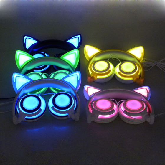 DJ Cat Ear Led Flashing Glowing Headset Multi- Color Old/ New Version T1
