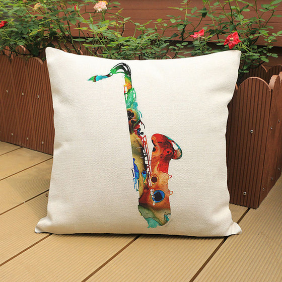 Saxophone Watercolor Musical Pattern Pillow Case H2