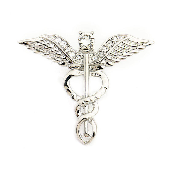 Physical Therapist Caduceus Medical Jewelry Crystal Brooch H2