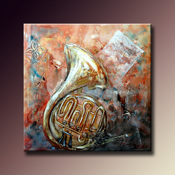 French horn Handmade Home Decor Painting 65*65cm