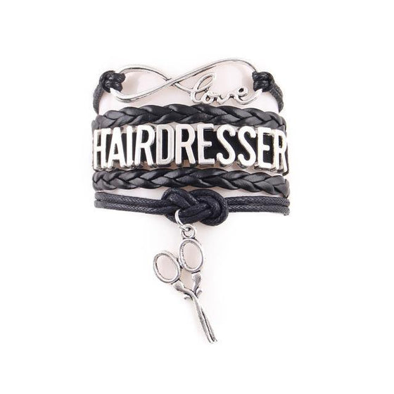 Hairdresser Infinity Love Scissors Charm Leather Bracelet H1