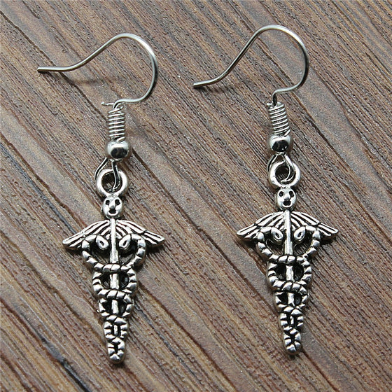 Physical Therapist Caduceus Medical Charm Earrings H2