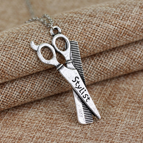 Hairdresser Vintage Replica Scissors Combs Necklace H1
