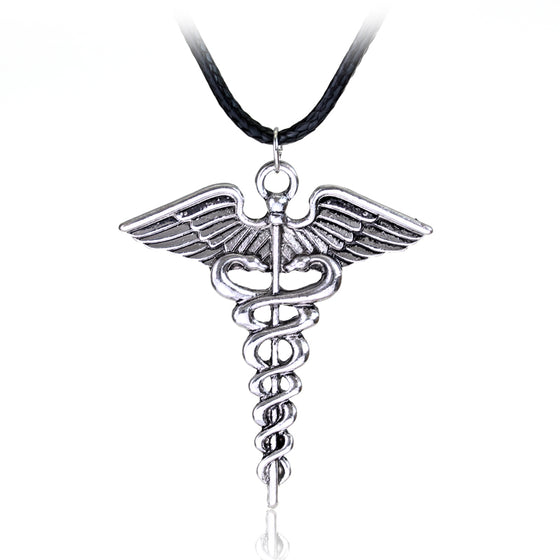 Physical Therapist Symbol Pendant Caduceus Snakes Wings Necklace H2