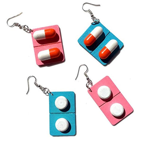 4-Pair-Funny-Capsule-and-Pill-shaped-Dangle-Earrings