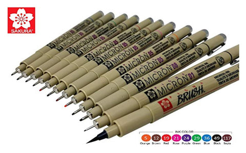 Pigma Micron solvent proof pens for laboratory notebooks