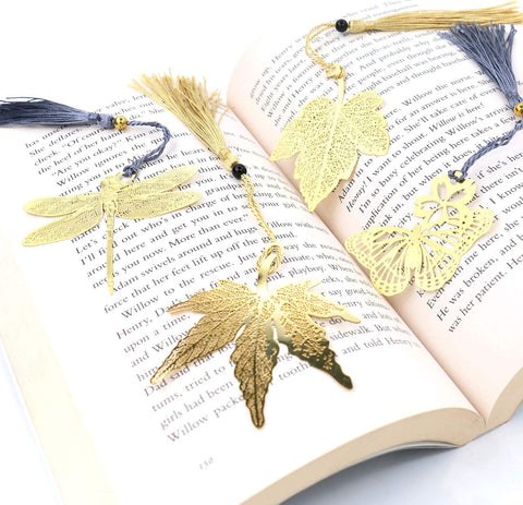 Set-of-Insects-and-Leaves-Metal-Bookmarks