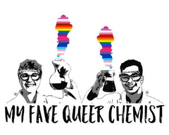my fave queer chemist podcast logo