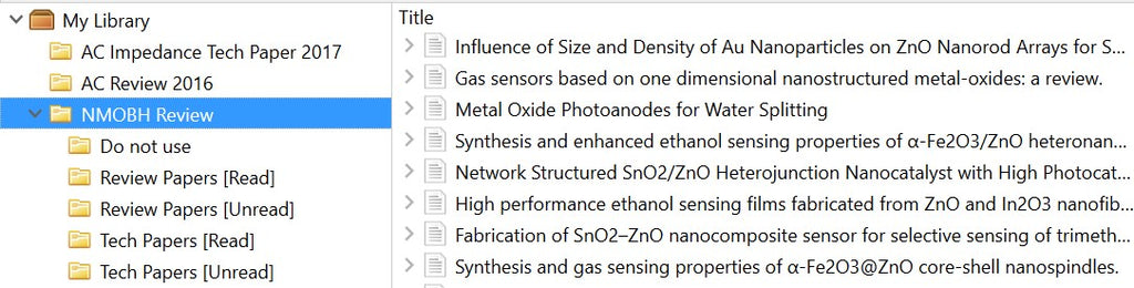 Zotero example of making unread review paper folders