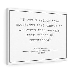 "Richard Feynman ""Questions"" - Canvas Wrap (5""x 7"")"