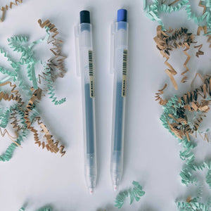 Muji gel pens for research writing notes