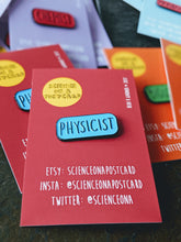 Physicist scientist enamel lapel pin badge science on a postcard