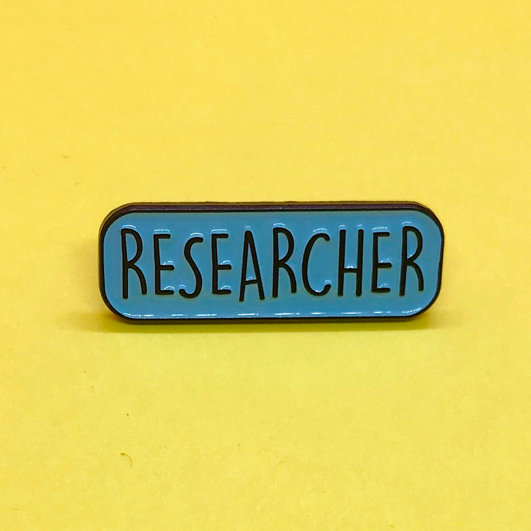Researcher scientist enamel lapel pin badge science on a postcard
