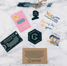 Science sticker pack with science on a postcard pin