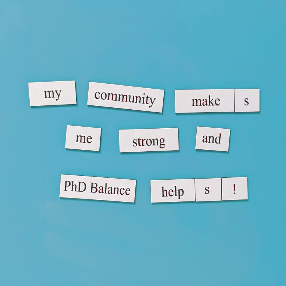 PhD Balance Word Magnets fundraiser