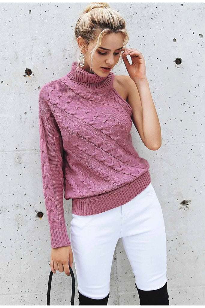 One Shoulder Knitted Sweater - Peachieee