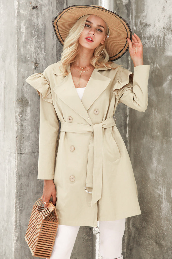 Ruffle Trench Coat - Peachieee