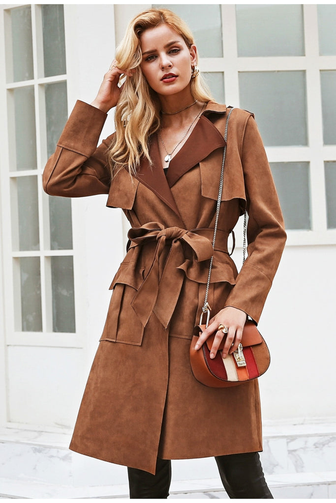 Sash Suede Trench - Peachieee