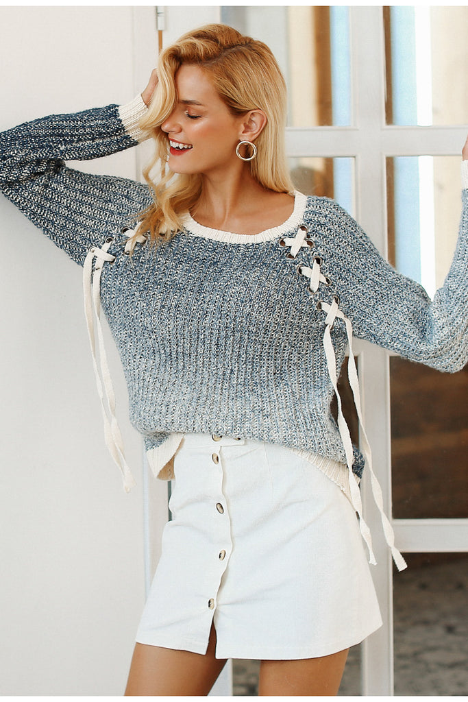 Lace Up Sweater - Peachieee
