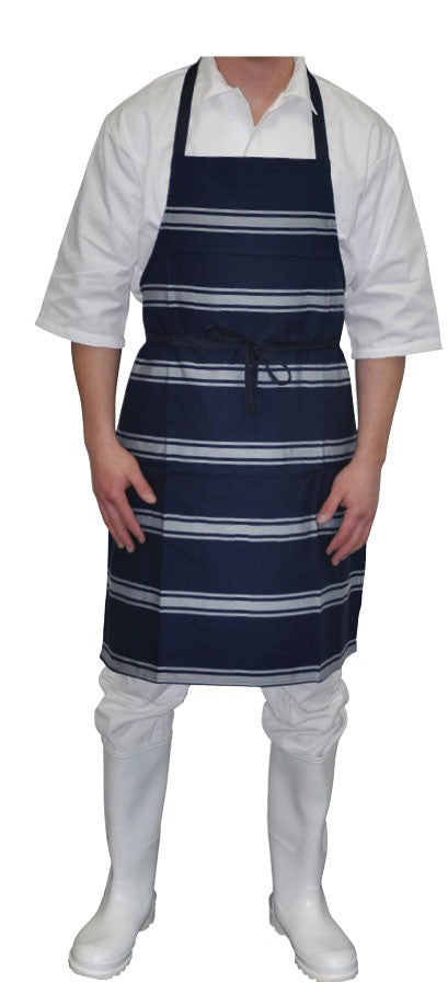 Butchers Apron - Denim Blue/White Stripe - Full Length