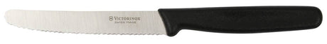 "VICTORINOX Round Tip Steak Knife - 10cm (4"") Serrated Edge Black Handle"