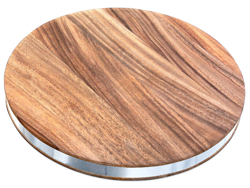 Acacia Round Chopping Board With Steel Band