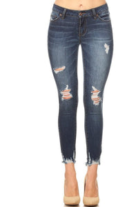 Dark Stone wash Distressed Skinny Jeans