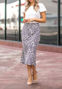 Leopard print Skirt with Side Slit