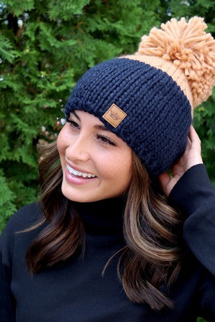Navy Blue Large Pom Knitted Toque