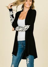 Black Crochet Trim Cardigan