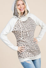 """The Witney""Taupe Leopard Quilted Double Hoodie"