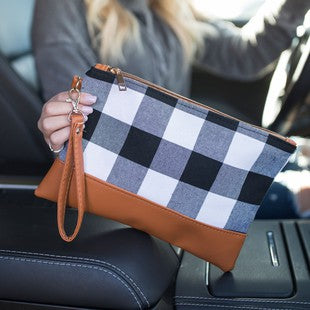 White & Black Buffalo Plaid  Wristlet Clutch