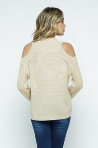 Knit Open Shoulder Sweater in Coco
