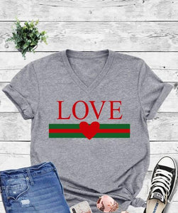 LOVE V-Neck Graphic Tee
