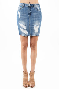 High Rise Denim Skirt
