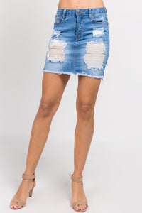 """Uptown girl"" distressed skirt"