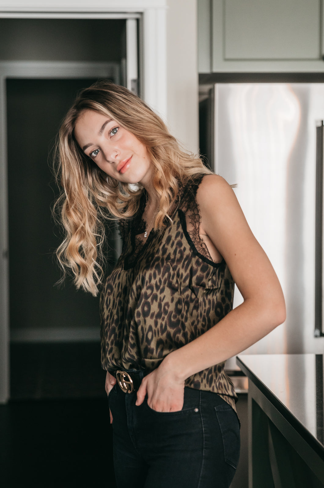 Olive Leopard Lace Top